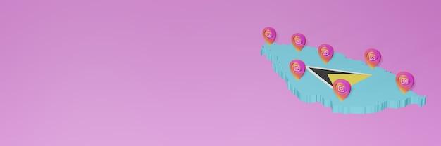 Utilizzo dei social media e instagram nelle infografiche di santa lucia in rendering 3d