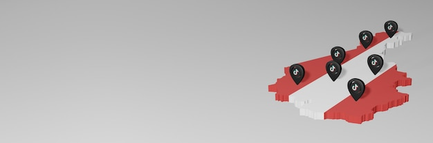 Utilizzo dei social media e di tik tok in austria per infografiche in rendering 3d