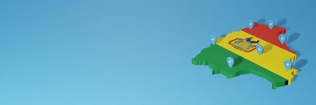 Uso dei social media e twitter in bolivia per infografiche nel rendering 3d