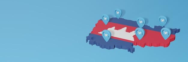 Utilizzo dei social media e twitter in cambogia per infografiche nel rendering 3d