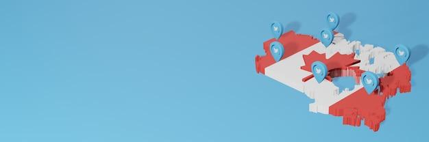 Utilizzo dei social media e twitter in canada per infografiche nel rendering 3d