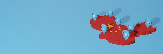 Uso dei social media e twitter in cina per infografiche nel rendering 3d