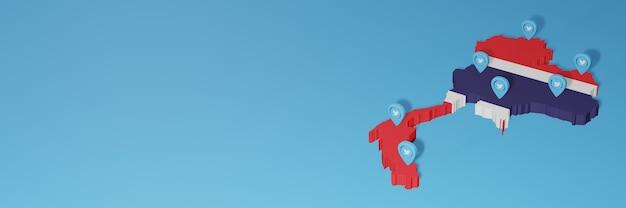 Uso dei social media e twitter in costa rica per infografiche nel rendering 3d