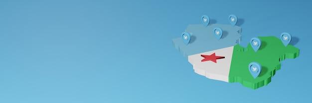 Uso dei social media e twitter a gibuti per infografiche nel rendering 3d