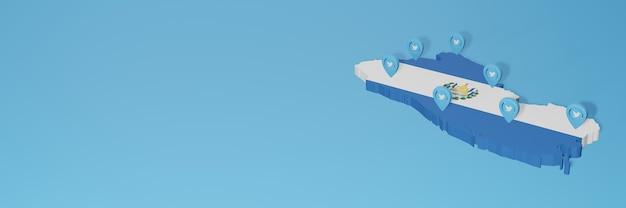 Uso dei social media e twitter in el savador per infografiche nel rendering 3d