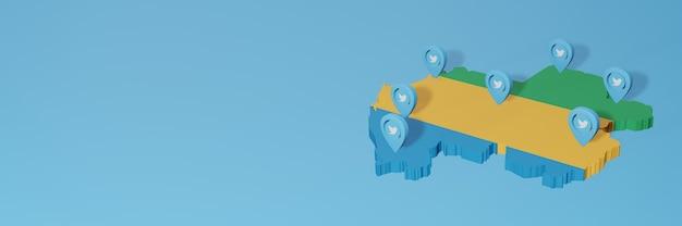 Utilizzo dei social media e di twitter in gabon per infografiche in rendering 3d