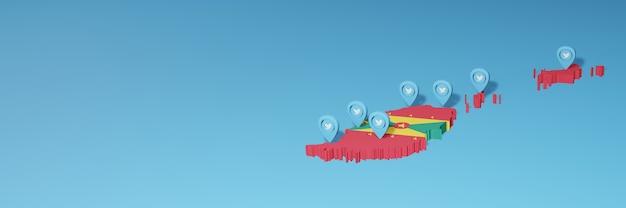 Uso dei social media e twitter a grenada per infografiche nel rendering 3d