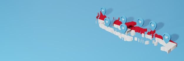 Utilizzo dei social media e twitter in indonesia per infografiche nel rendering 3d
