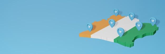 Uso dei social media e twitter in costa d'avorio per infografiche nel rendering 3d