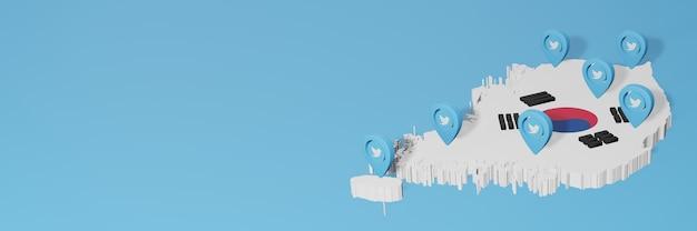 Uso dei social media e twitter in corea per infografiche nel rendering 3d