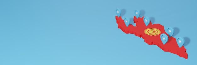 Uso dei social media e twitter in kirghizistan per infografiche nel rendering 3d