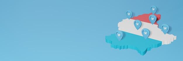 Utilizzo dei social media e twitter in lussemburgo per infografiche nel rendering 3d