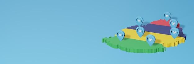 Uso dei social media e twitter a mauritius per infografiche nel rendering 3d