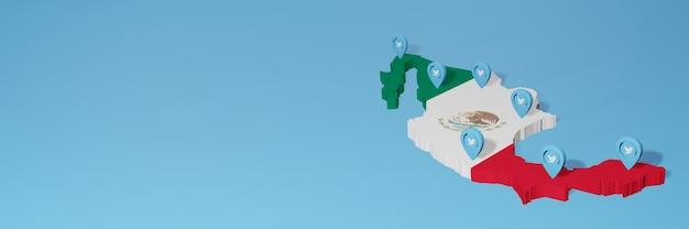 Uso dei social media e twitter in messico per infografiche nel rendering 3d