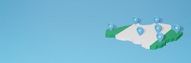 Utilizzo dei social media e twitter in nigeria per infografiche nel rendering 3d