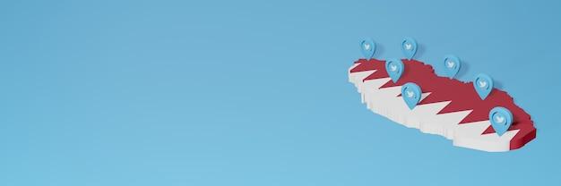 Utilizzo dei social media e twitter in qatar per infografiche nel rendering 3d