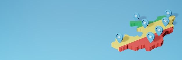 Utilizzo dei social media e twitter in republic of congo per infografiche nel rendering 3d