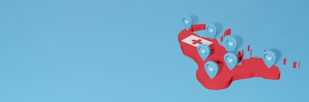 Utilizzo dei social media e twitter a tonga per infografiche nel rendering 3d