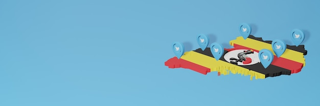 Utilizzo dei social media e twitter in uganda per infografiche nel rendering 3d