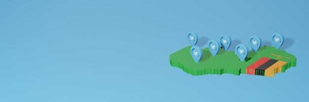 Utilizzo dei social media e twitter in zambia per infografiche nel rendering 3d