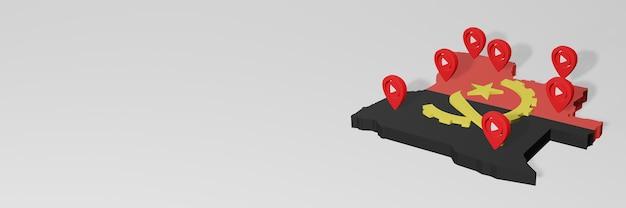 Utilizzo dei social media e di youtube in angola per infografiche in rendering 3d