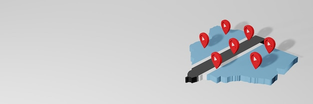 Utilizzo dei social media e di youtube in botswana per infografiche in rendering 3d