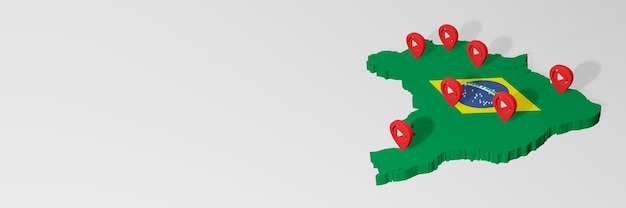 Utilizzo dei social media e di youtube in brasile per infografiche nel rendering 3d