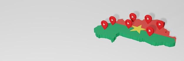 Utilizzo dei social media e youtube in burkina faso per infografiche in rendering 3d