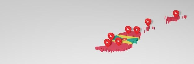 Utilizzo dei social media e youtube a grenada per infografiche nel rendering 3d