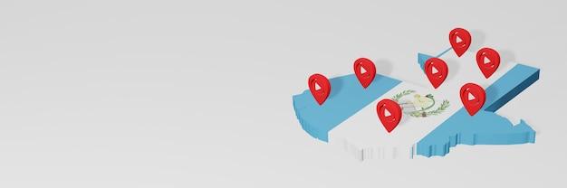 Utilizzo dei social media e youtube in guatemala per infografiche nel rendering 3d