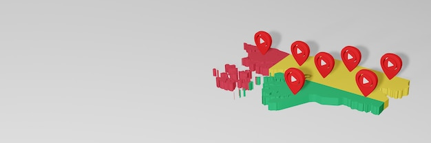 Utilizzo dei social media e youtube in guinea bissau per infografiche in rendering 3d