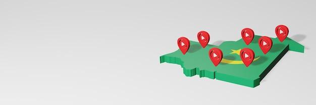 Utilizzo dei social media e di youtube in mauritania per infografiche in rendering 3d