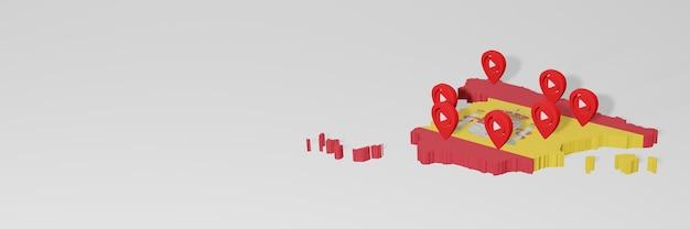 Utilizzo di social media e youtube in spagna per infografiche nel rendering 3d