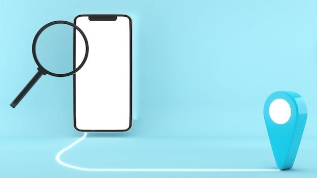 Usa il tuo cellulare per trovare la posizione, trovare una posizione, rendering 3d, illustrazione 3d