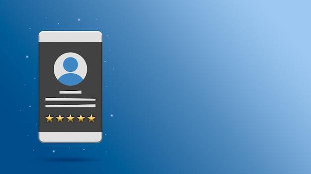 Profilo utente con valutazione a cinque stelle sul rendering dello schermo del telefono