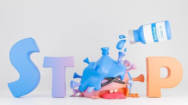 La bottiglia del vaccino ha versato il liquido nel simpatico personaggio del virus della colona arancione e blu che piangeva