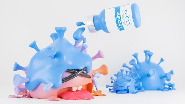 La bottiglia del vaccino ha versato il liquido nel simpatico personaggio del coronavirus arancione e blu che piangeva su bianco