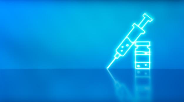 Vaccino e iniezione di siringhe. immunizzazione e trattamento dell'infezione da virus corona. concetto di medicina infettiva. icona della siringa. illustrazione 3d.