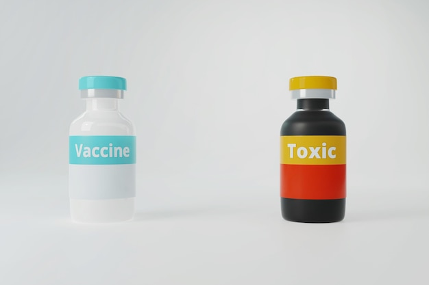 Vaccino in bottiglia di vetro bianco e prodotti chimici tossici in bottiglia nera