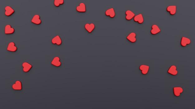 Sfondo di san valentino con cuori rossi. illustrazione 3d bellissimo sfondo nero per le vacanze di san valentino. design per flyer, inviti, banner, biglietti di auguri.