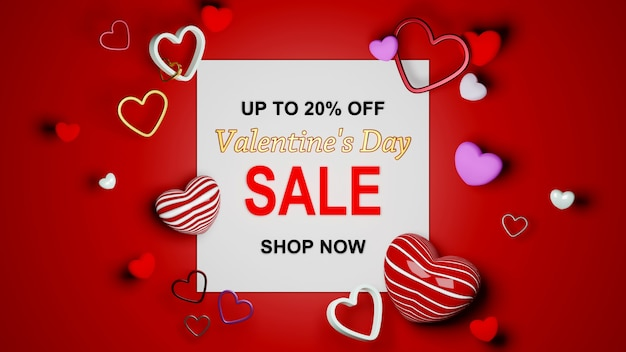 Carte di annuncio di vendita di san valentino su sfondo rosso celebrazione concetto per donne felici, dolce cuore, banner o brochure auguri di compleanno carta regalo design. manifesto di saluto di amore romantico 3d.