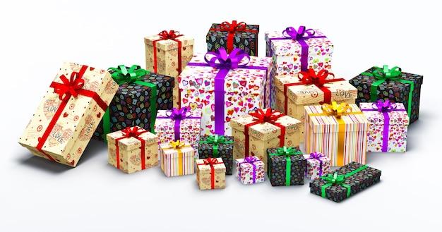 Scatole di regali di san valentino con cuori su sfondo bianco