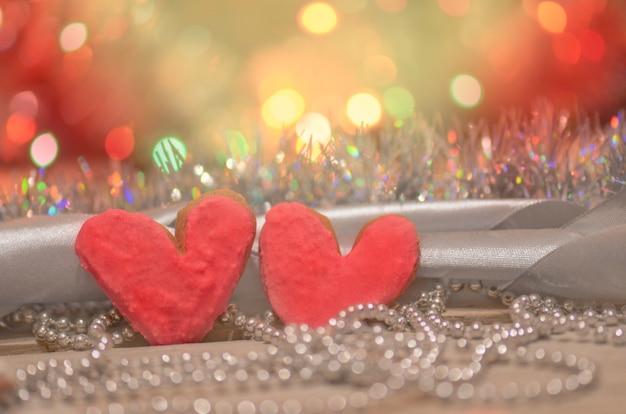 Biscotti cuore san valentino. giorno di san valentino sfondo