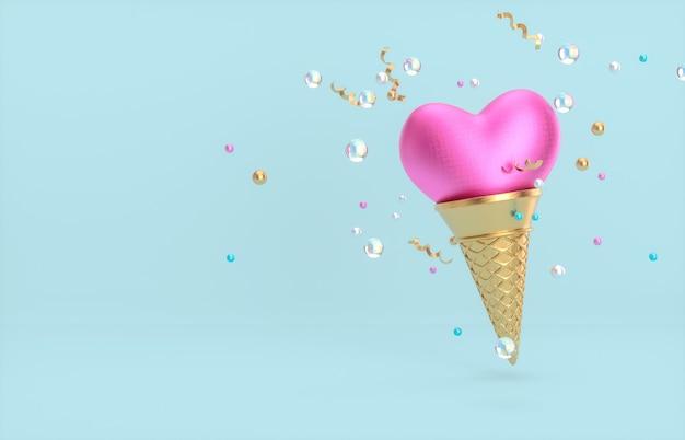 Sfondo di san valentino con forma di cuore sul cono gelato. rendering 3d.