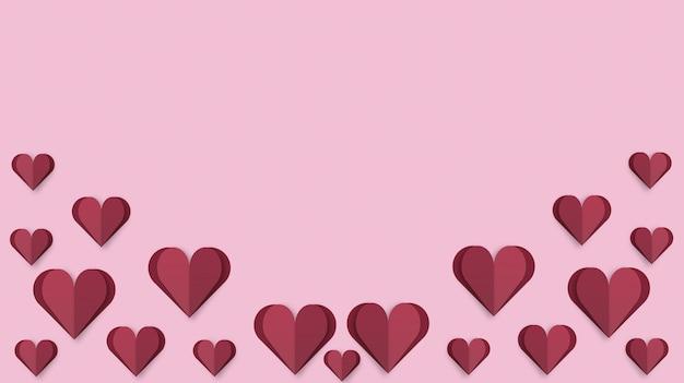 Sfondo di san valentino con cuori rossi papercut 3d