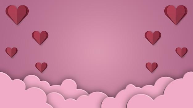 Sfondo di san valentino con cuori rossi papercut e nuvole 3d