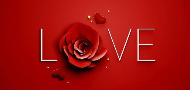 Fondo della bandiera di san valentino con la parola di amore e la rosa