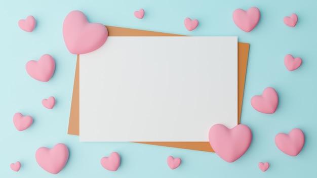 Concetto di san valentino. la carta bianca vuota viene posizionata su carta marrone con cuore rosa su sfondo azzurro. rendering 3d