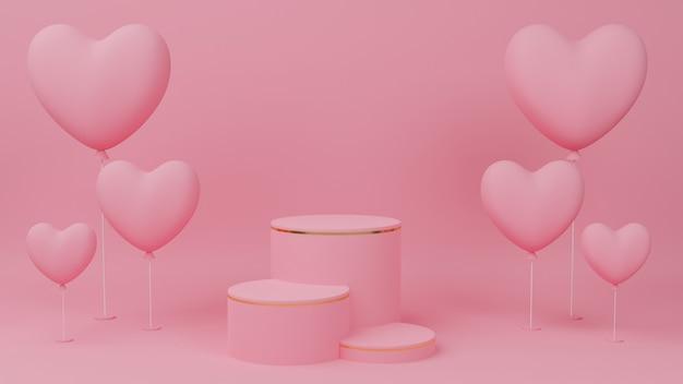 Concetto di san valentino. colore pastello podio cerchio rosa con bordo oro, tre ranghi e palloncino cuore rosa.