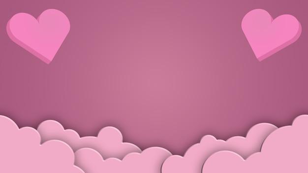 Concetto di san valentino, cuori su uno sfondo di nuvole 3d